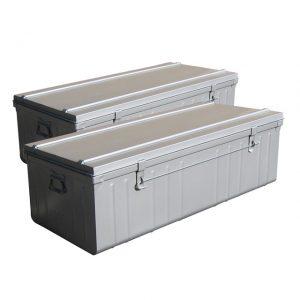 kit de 2 malles métalliques grise Castorama