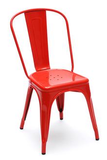 La chaise en métal  rouge 3-4- Tolix