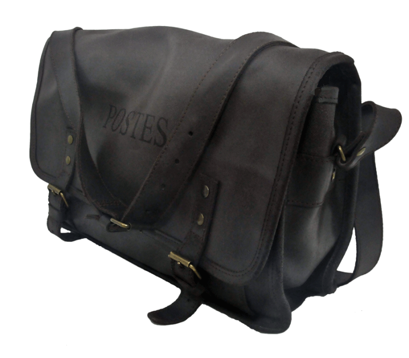 Sacoche noir en cuir fabriquée en France - Code Postal