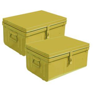 lot de 2 malles métalliques vertes 37 et 42 cm jaune
