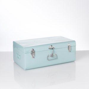 malle métallique bleu clair la redoute