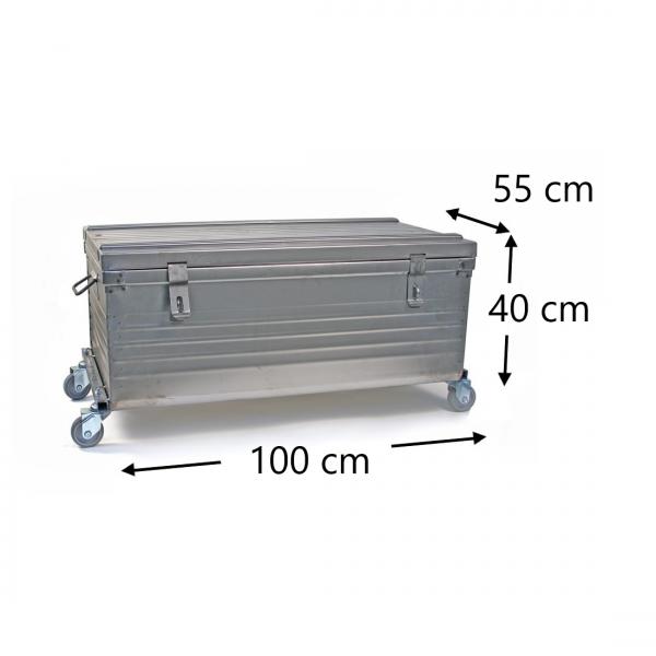 Malle sur roues dimensions - 100x55x40cm - 4 roulettes