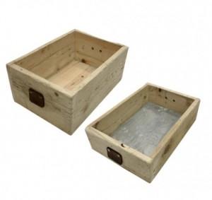Set de 2 caisses tiroirs en bois