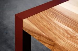Table en bois et métal constante armeta rouge-vue2