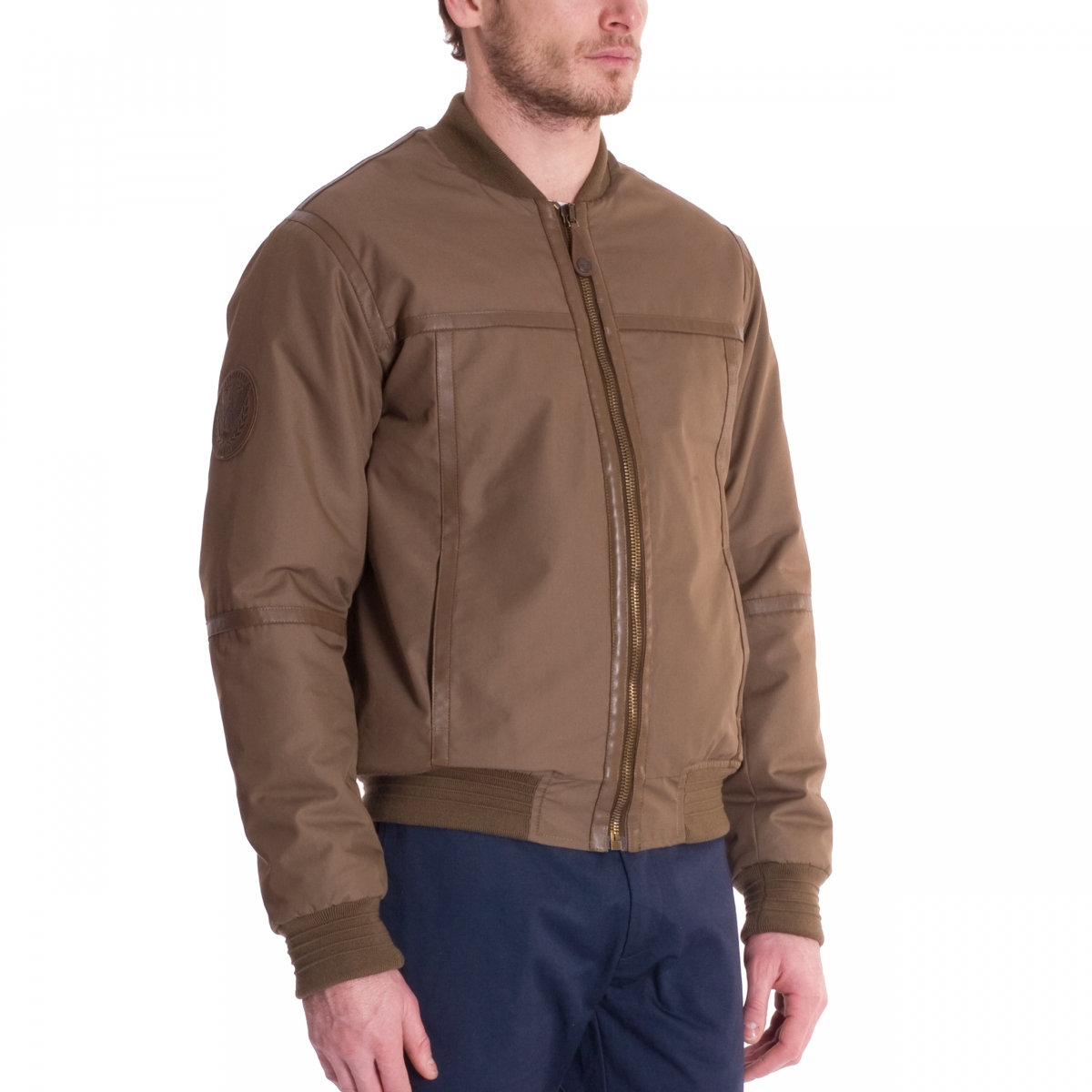 Le bomber aviateur en cuir made in France vue trois quart
