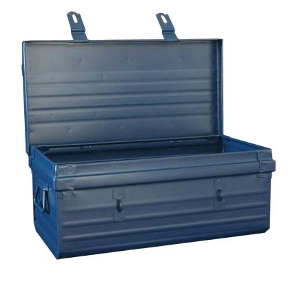 cantine herment ouverte - malle bleue en métal