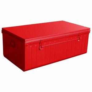 malle métallique rouge