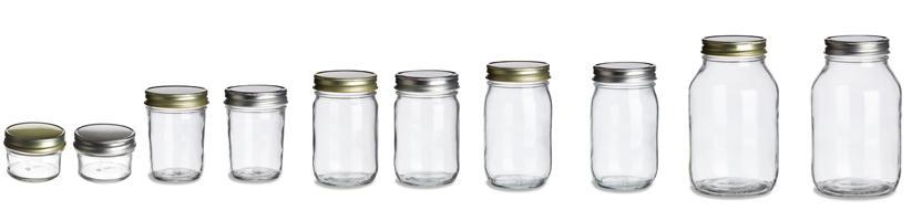 les différentes tailles et dimensions de mason jar