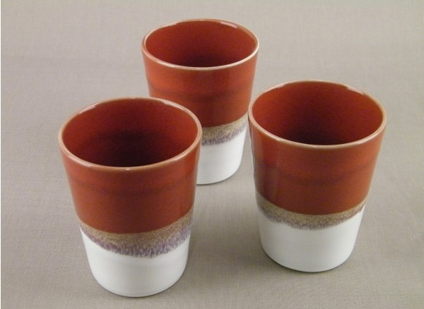 Set de mugs jars rouge brique et blanc poterie fabriqué en France