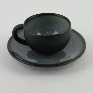 Poterie jars - tasse et sous-tasse noir fabriqué en France
